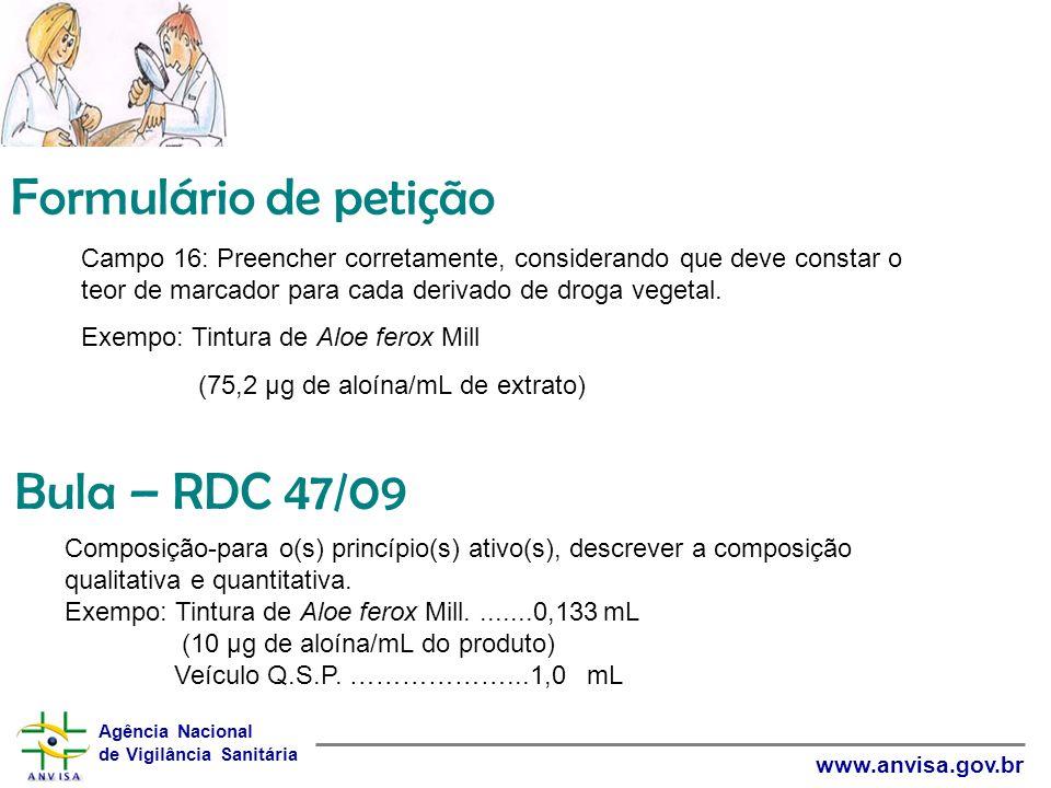 Formulário de petição Bula – RDC 47/09