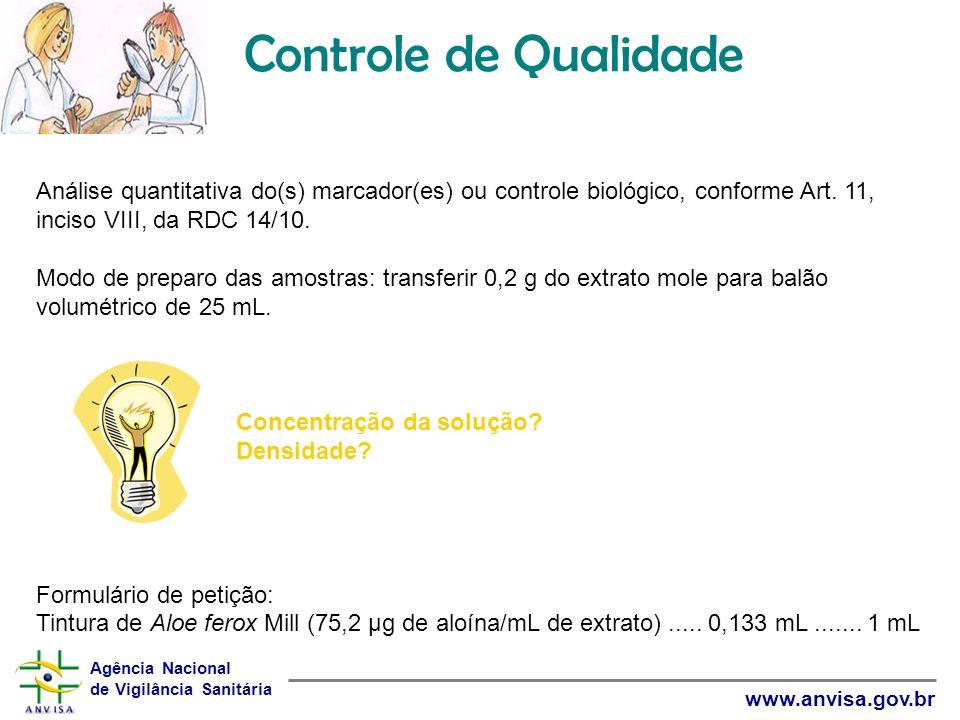 Controle de Qualidade Análise quantitativa do(s) marcador(es) ou controle biológico, conforme Art. 11, inciso VIII, da RDC 14/10.