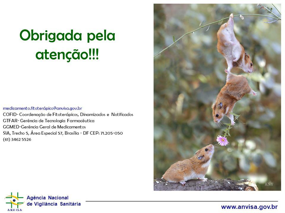 Obrigada pela atenção!!! medicamento.fitoterápico@anvisa.gov.br