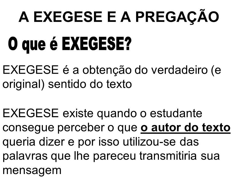 A EXEGESE E A PREGAÇÃO O que é EXEGESE