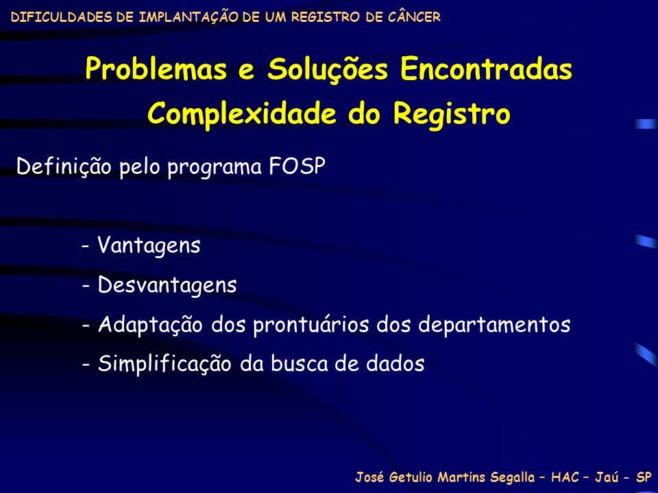 Problemas e Soluções Encontradas Complexidade do Registro