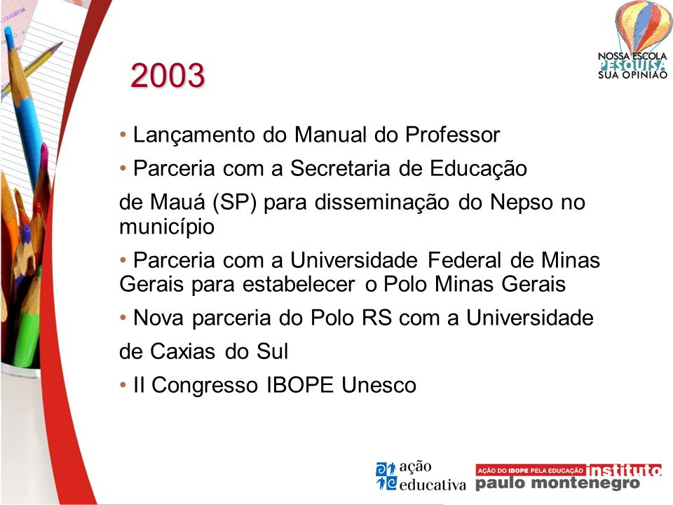 2003 • Lançamento do Manual do Professor