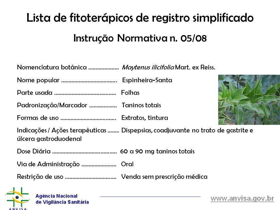 Lista de fitoterápicos de registro simplificado