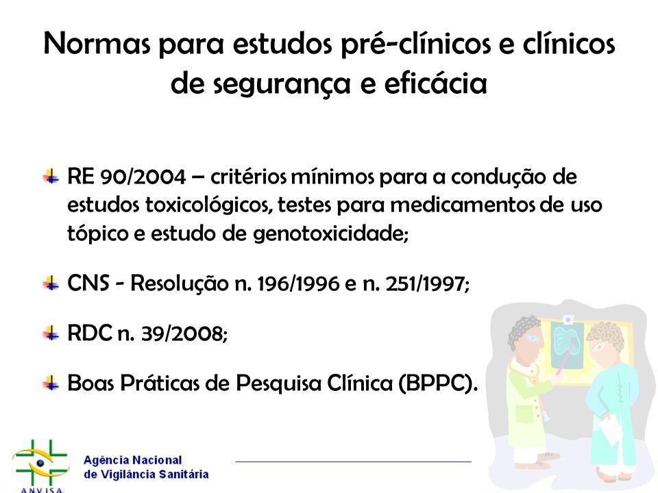 Normas para estudos pré-clínicos e clínicos de segurança e eficácia