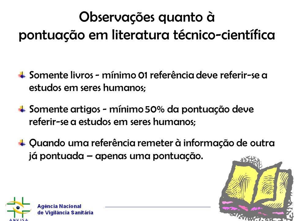Observações quanto à pontuação em literatura técnico-científica