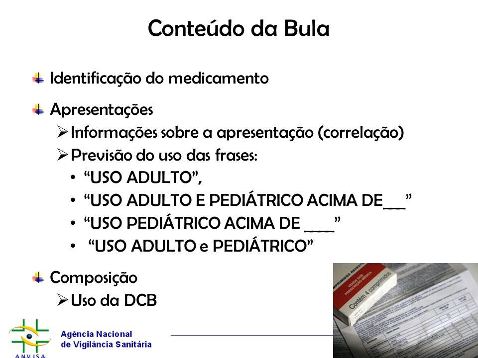 Conteúdo da Bula Identificação do medicamento Apresentações