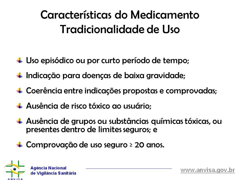 Características do Medicamento Tradicionalidade de Uso