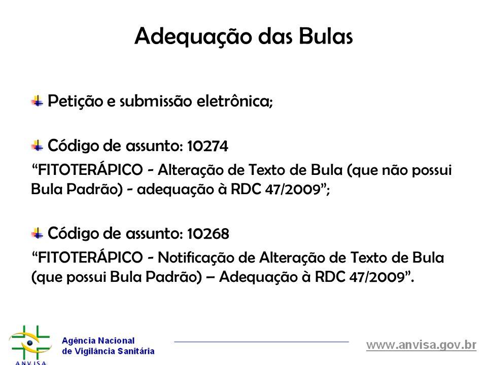 Adequação das Bulas Petição e submissão eletrônica;