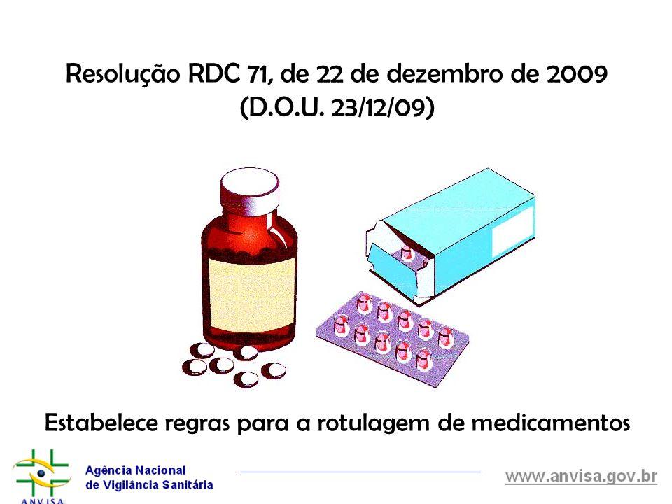 Resolução RDC 71, de 22 de dezembro de 2009 (D. O. U