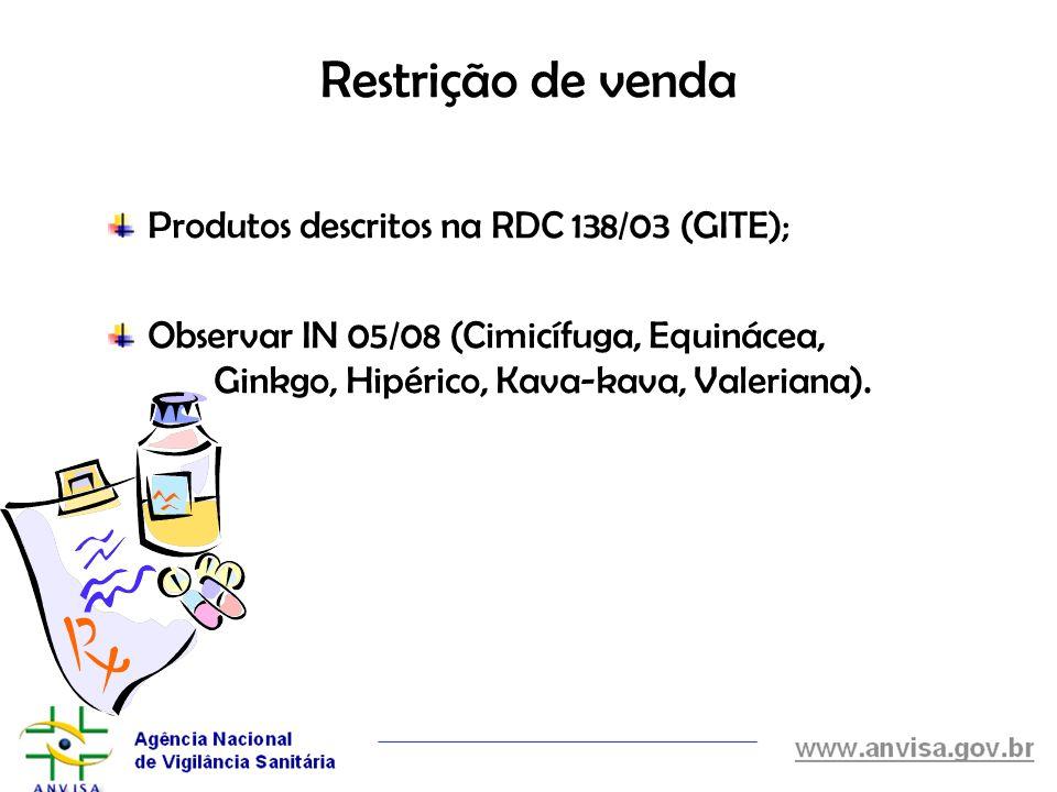 Restrição de venda Produtos descritos na RDC 138/03 (GITE);