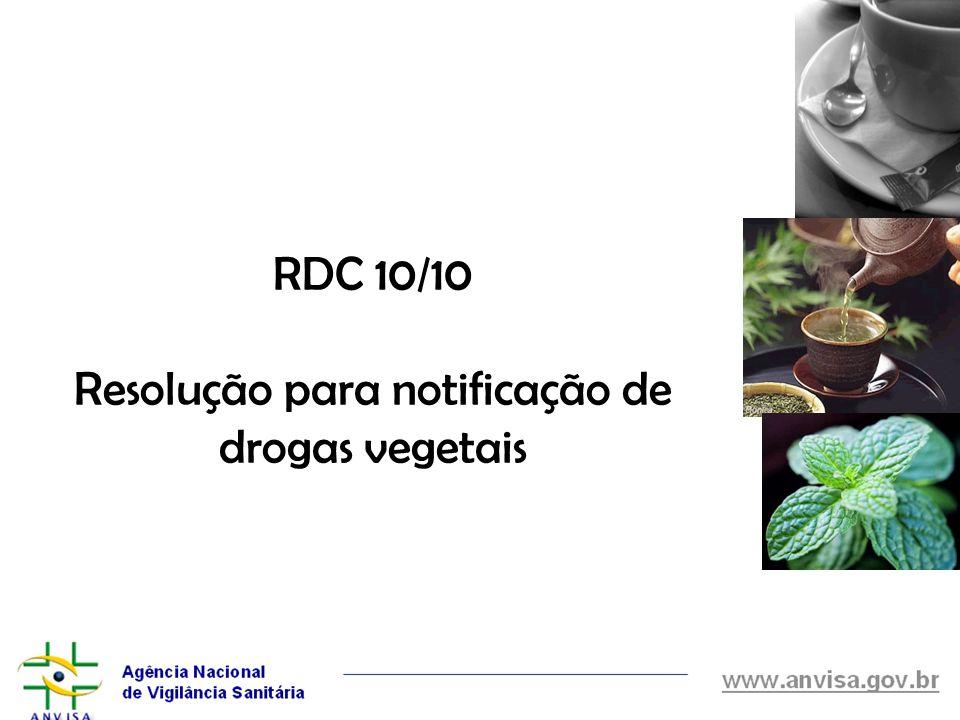 Resolução para notificação de drogas vegetais