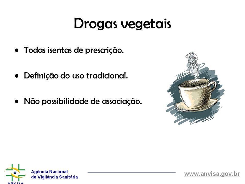 Drogas vegetais Todas isentas de prescrição.