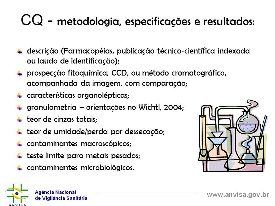 CQ - metodologia, especificações e resultados: