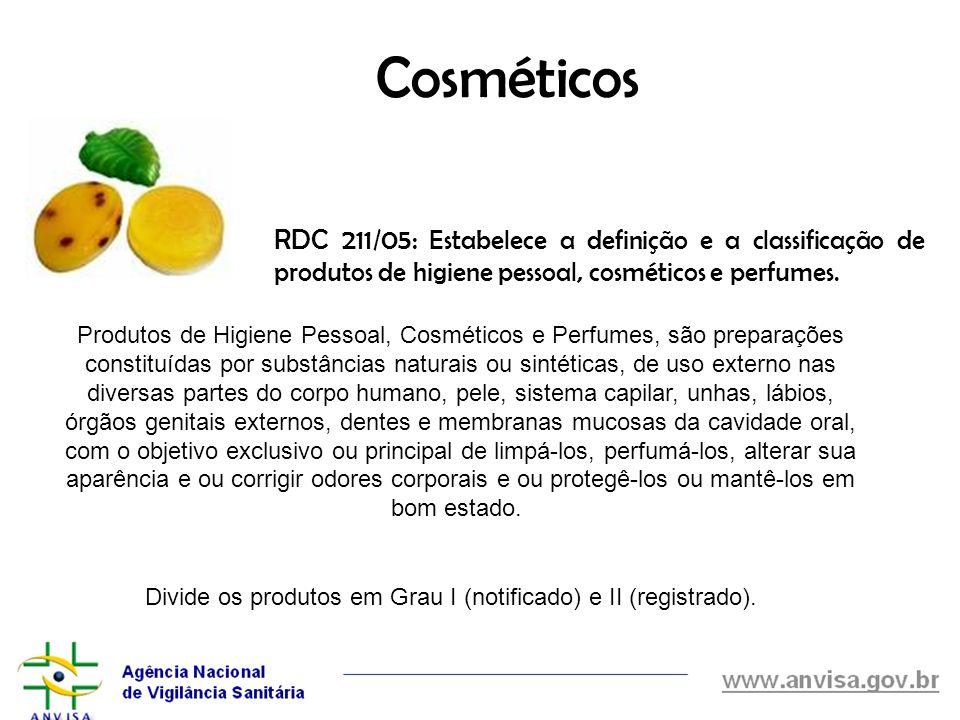 Cosméticos RDC 211/05: Estabelece a definição e a classificação de produtos de higiene pessoal, cosméticos e perfumes.