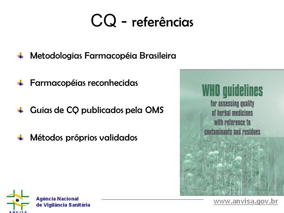CQ - referências Metodologias Farmacopéia Brasileira