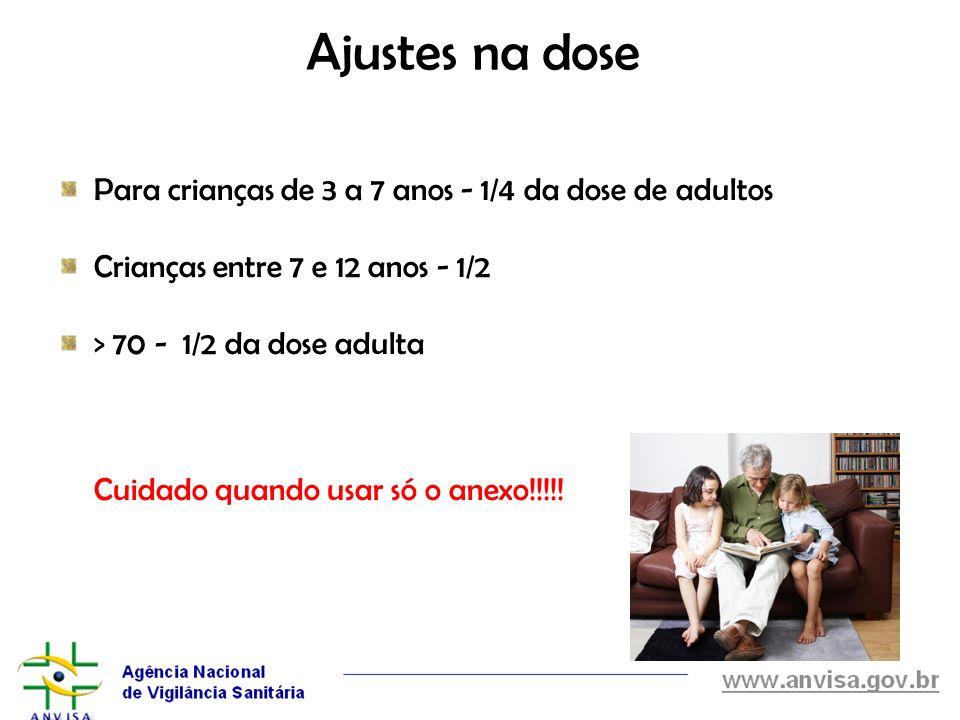 Ajustes na dose Para crianças de 3 a 7 anos - 1/4 da dose de adultos