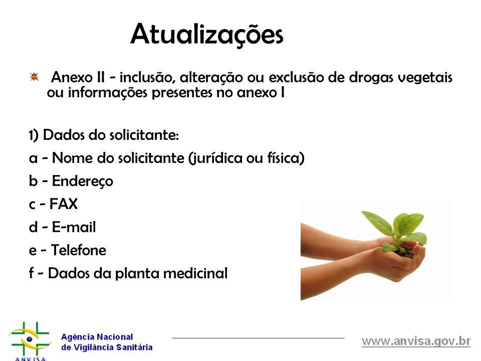 Atualizações Anexo II - inclusão, alteração ou exclusão de drogas vegetais ou informações presentes no anexo I.