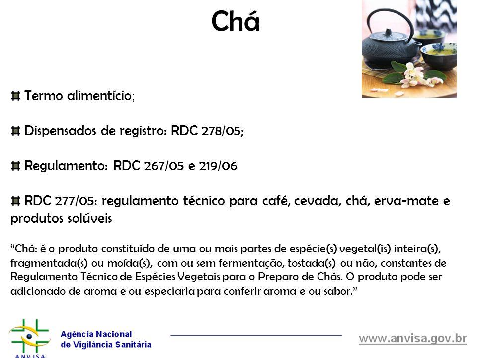 Chá Termo alimentício; Dispensados de registro: RDC 278/05;