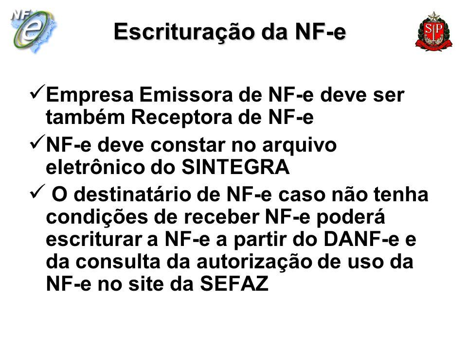 Escrituração da NF-eEmpresa Emissora de NF-e deve ser também Receptora de NF-e. NF-e deve constar no arquivo eletrônico do SINTEGRA.