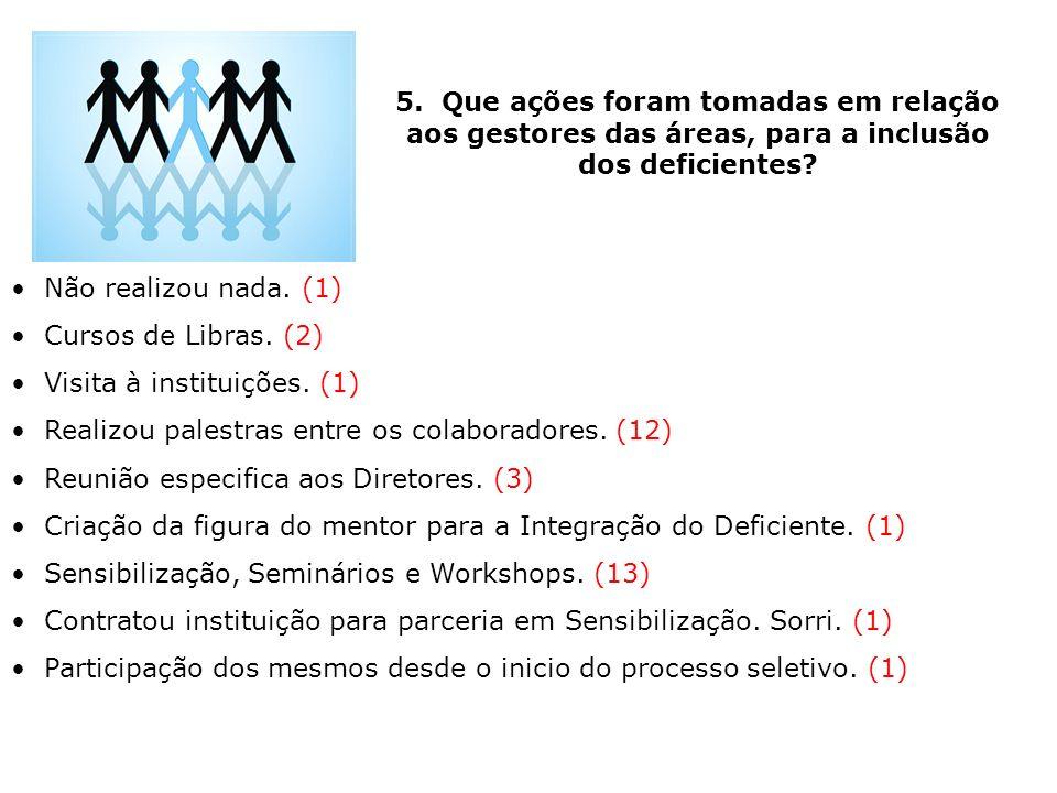 5. Que ações foram tomadas em relação aos gestores das áreas, para a inclusão dos deficientes