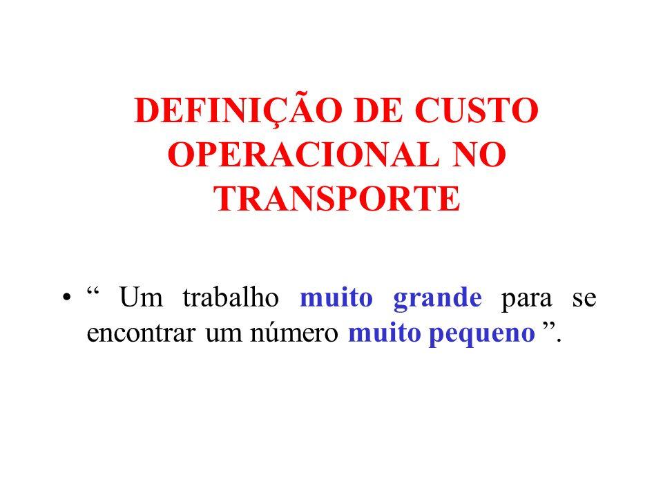 DEFINIÇÃO DE CUSTO OPERACIONAL NO TRANSPORTE