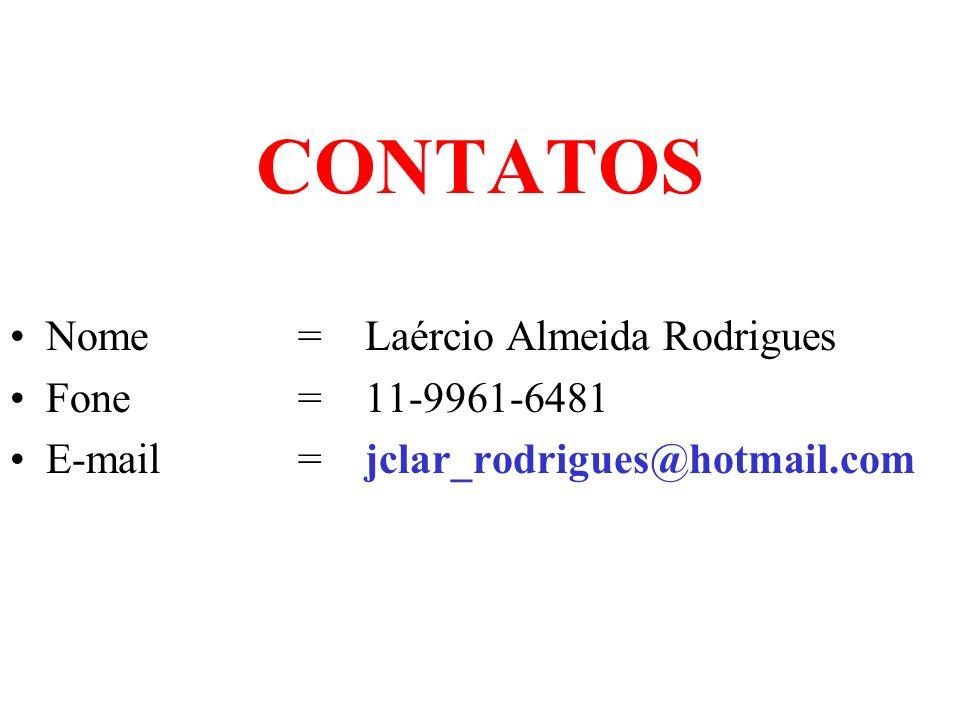 CONTATOS Nome = Laércio Almeida Rodrigues Fone = 11-9961-6481