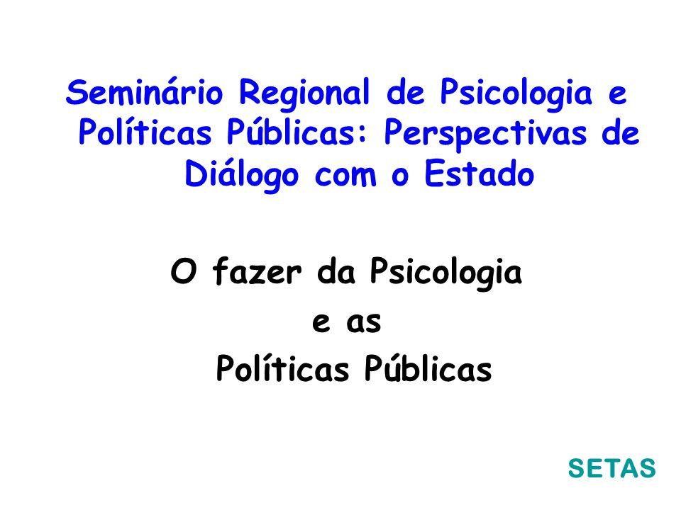 Seminário Regional de Psicologia e Políticas Públicas: Perspectivas de Diálogo com o Estado