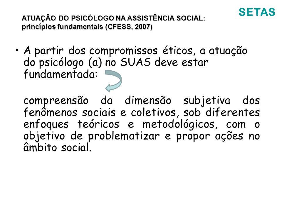 SETAS ATUAÇÃO DO PSICÓLOGO NA ASSISTÊNCIA SOCIAL: princípios fundamentais (CFESS, 2007)