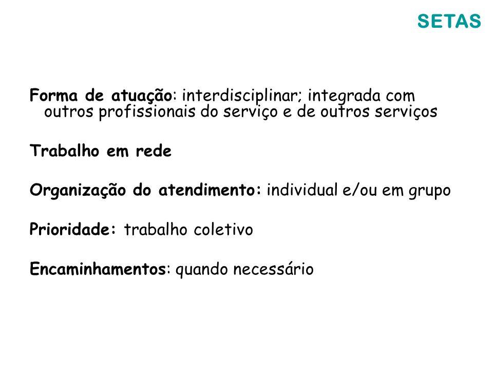 SETAS Forma de atuação: interdisciplinar; integrada com outros profissionais do serviço e de outros serviços.