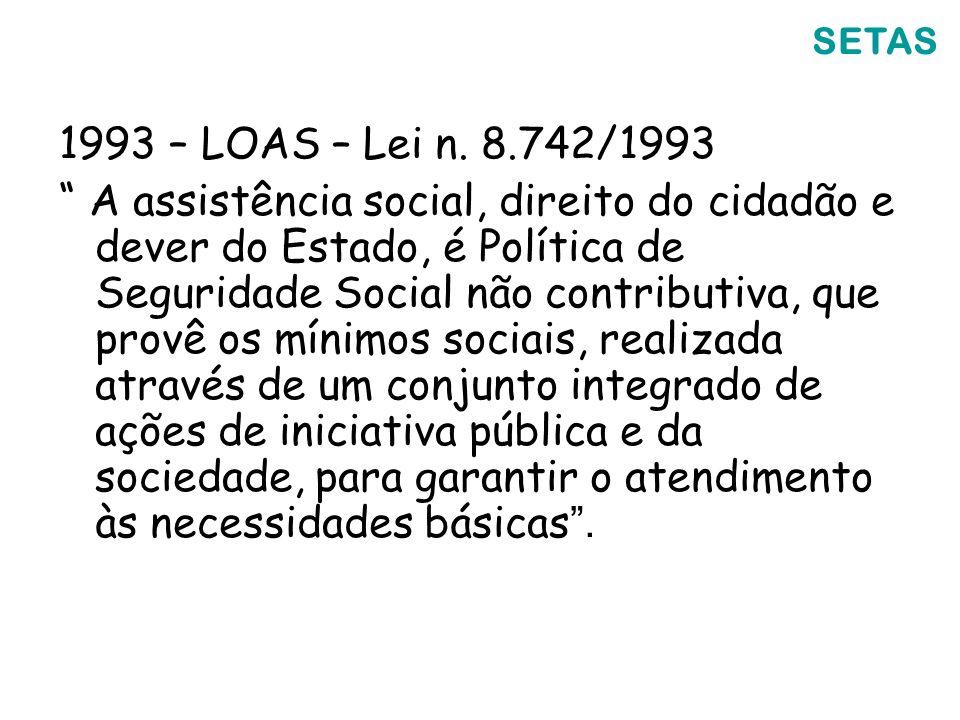 SETAS 1993 – LOAS – Lei n. 8.742/1993.