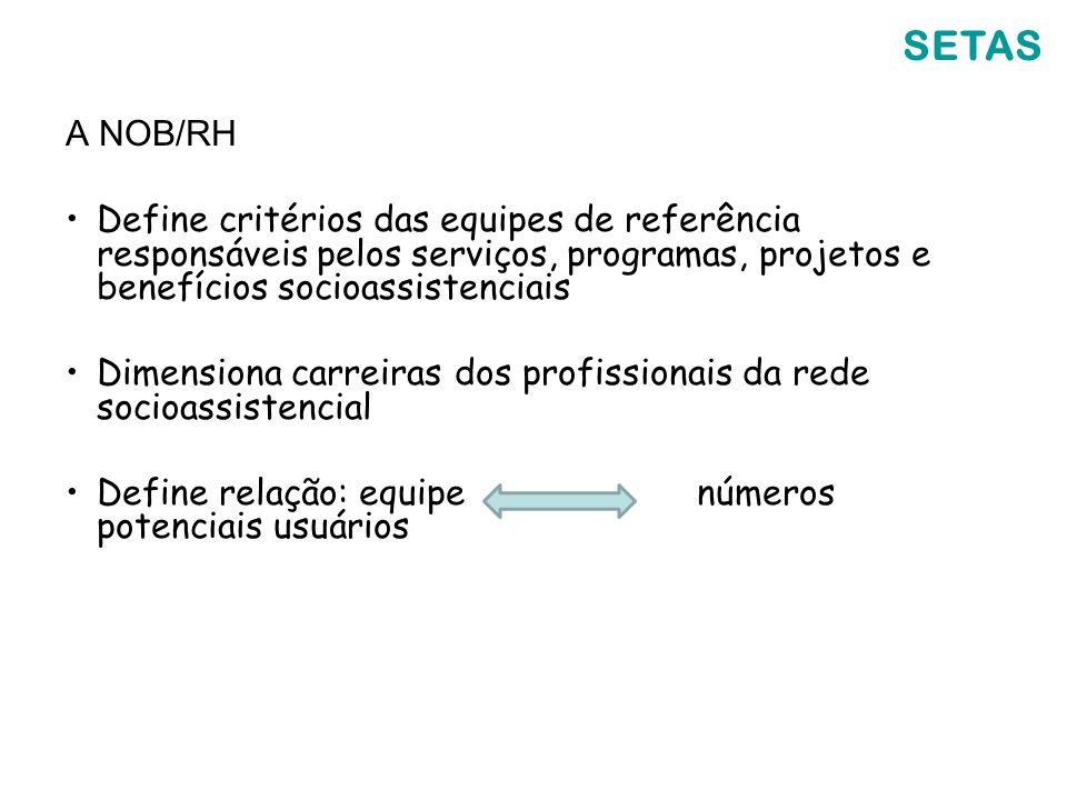 SETAS A NOB/RH. Define critérios das equipes de referência responsáveis pelos serviços, programas, projetos e benefícios socioassistenciais.