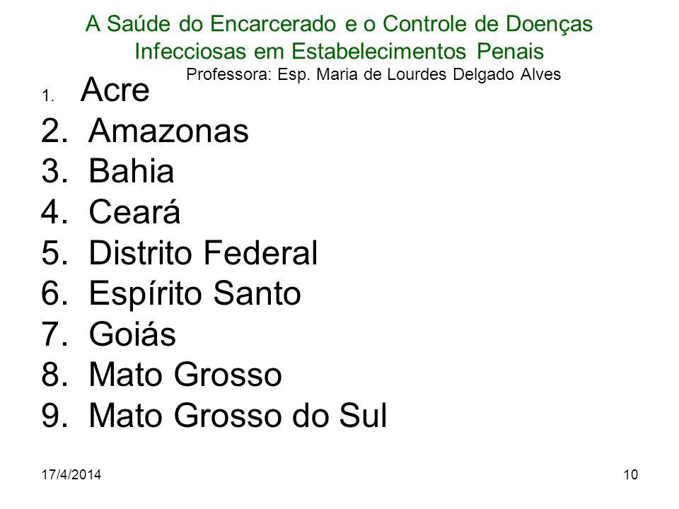 Amazonas Bahia Ceará Distrito Federal Espírito Santo Goiás Mato Grosso
