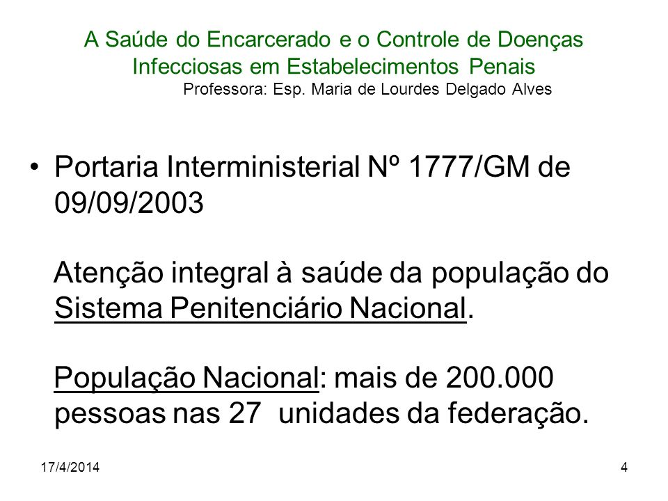 Portaria Interministerial Nº 1777/GM de 09/09/2003