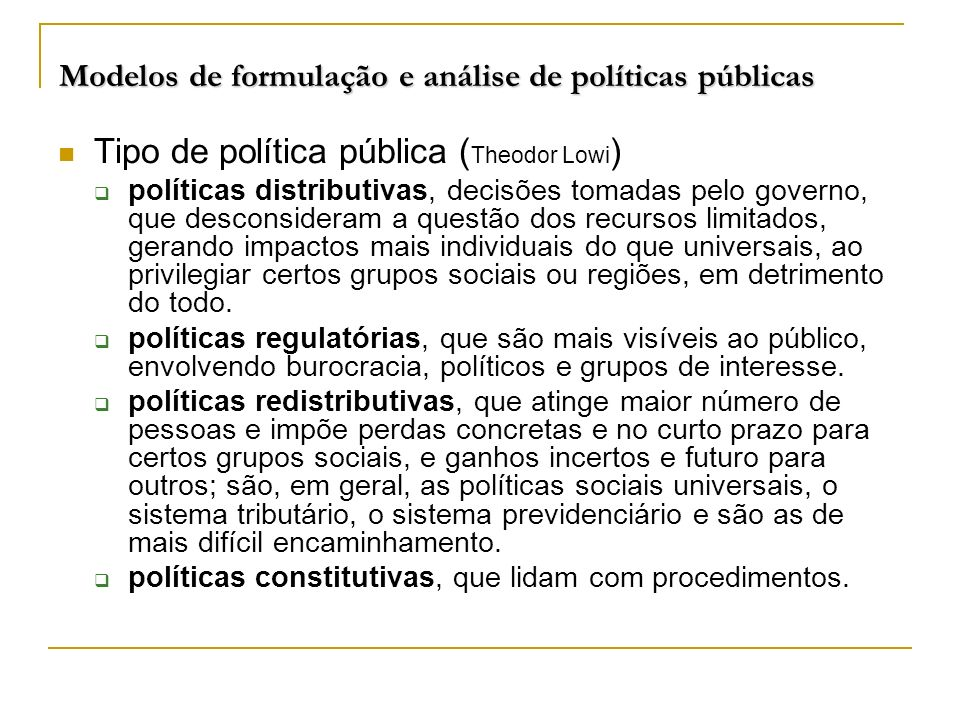 Modelos de formulação e análise de políticas públicas