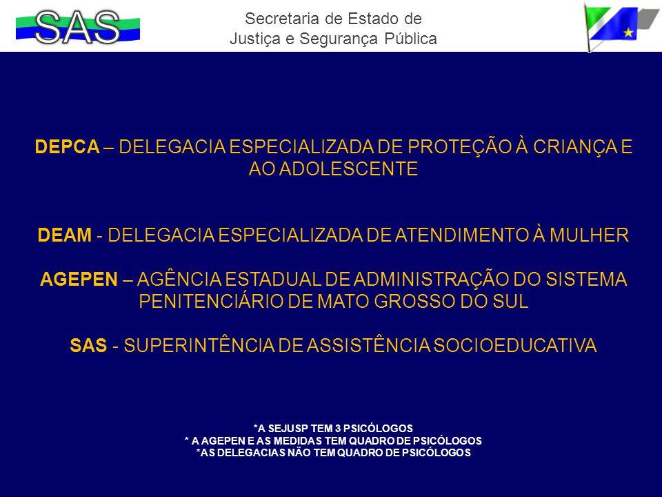SAS Secretaria de Estado de Justiça e Segurança Pública. DEPCA – DELEGACIA ESPECIALIZADA DE PROTEÇÃO À CRIANÇA E AO ADOLESCENTE.