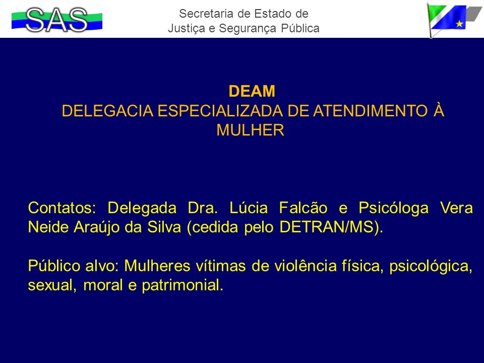 SAS DELEGACIA ESPECIALIZADA DE ATENDIMENTO À MULHER