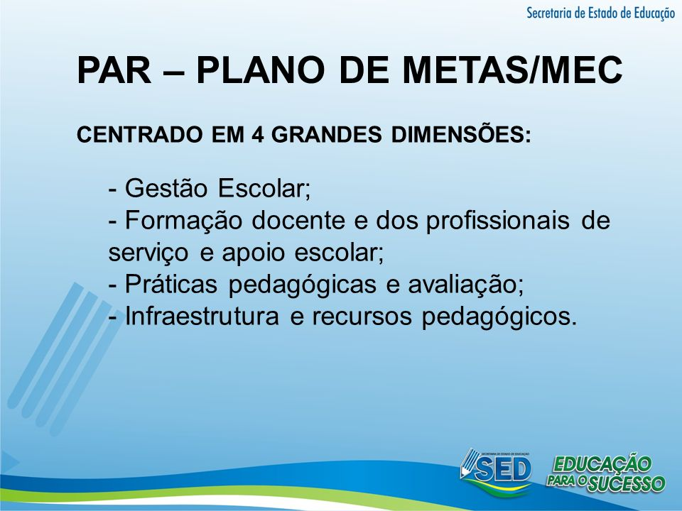 PAR – PLANO DE METAS/MEC