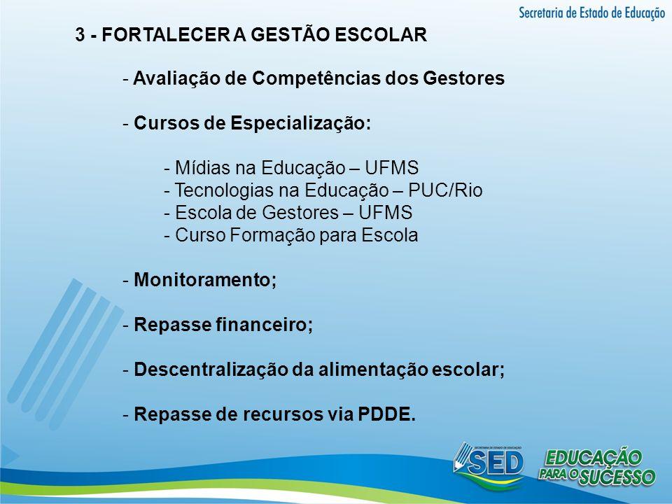 3 - FORTALECER A GESTÃO ESCOLAR