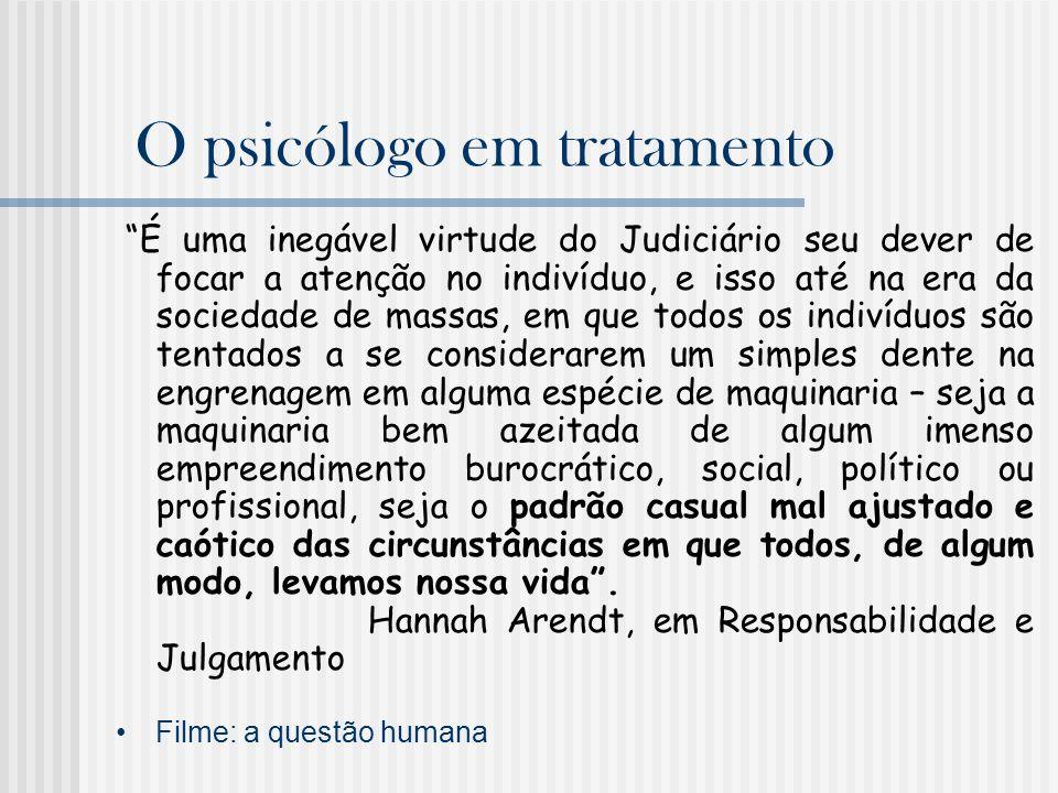 O psicólogo em tratamento