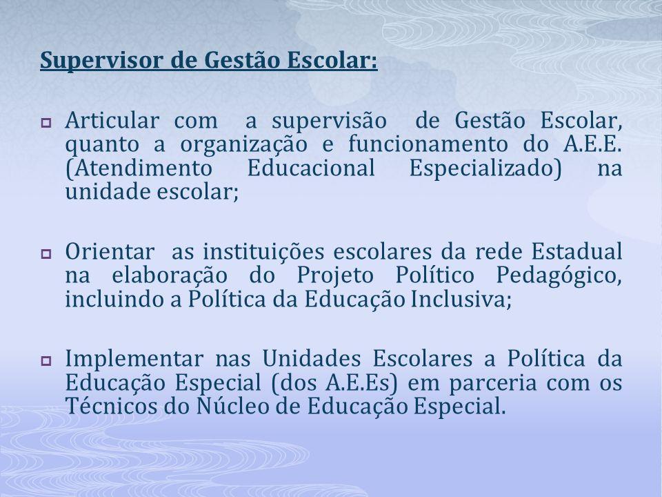 Supervisor de Gestão Escolar:
