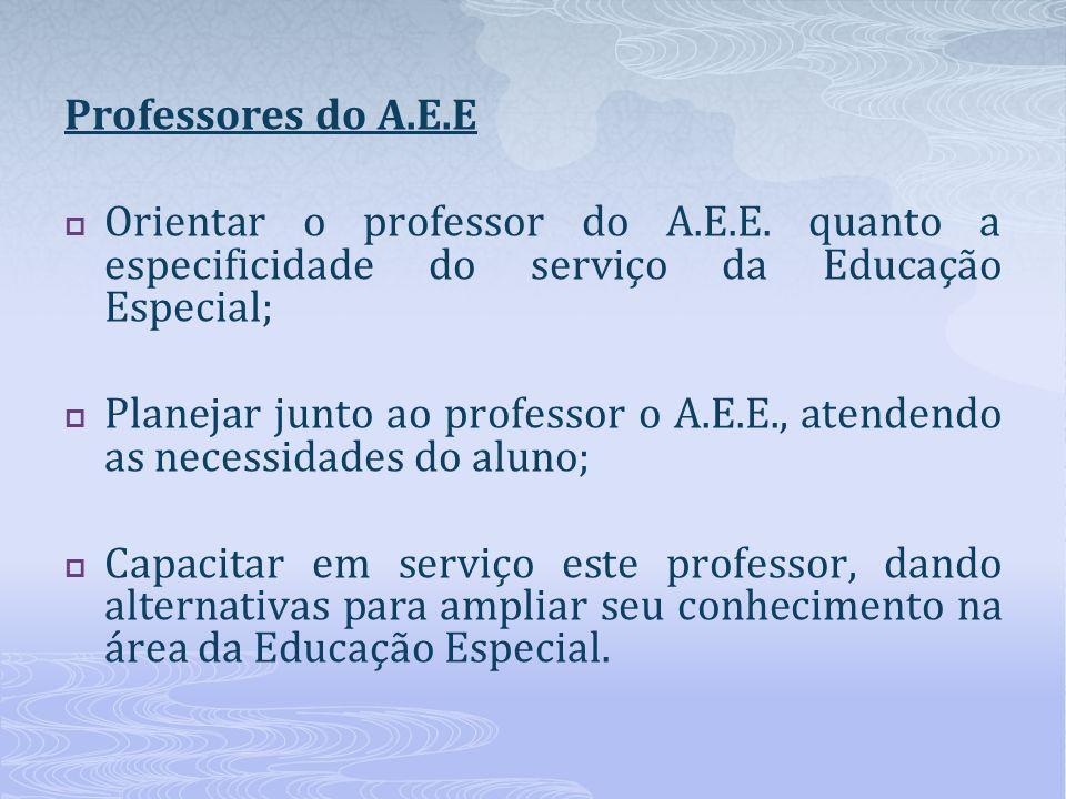 Professores do A.E.E Orientar o professor do A.E.E. quanto a especificidade do serviço da Educação Especial;