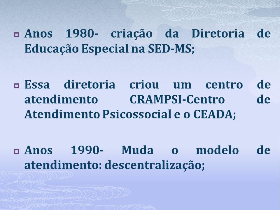 Anos 1980- criação da Diretoria de Educação Especial na SED-MS;