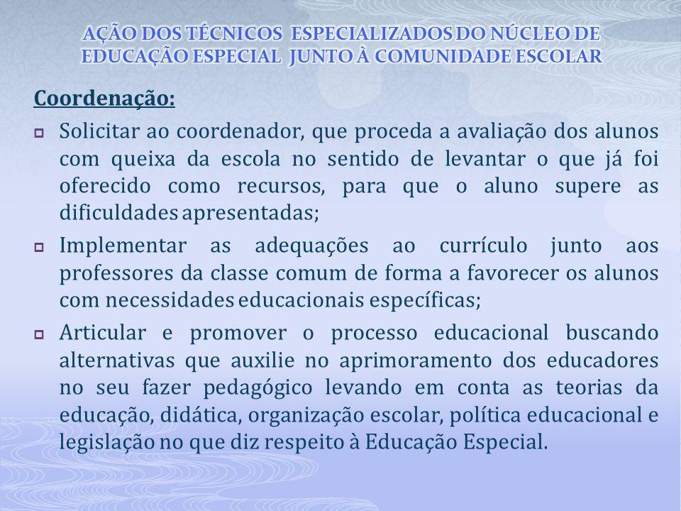 AÇÃO DOS TÉCNICOS ESPECIALIZADOS DO NÚCLEO DE EDUCAÇÃO ESPECIAL JUNTO À COMUNIDADE ESCOLAR