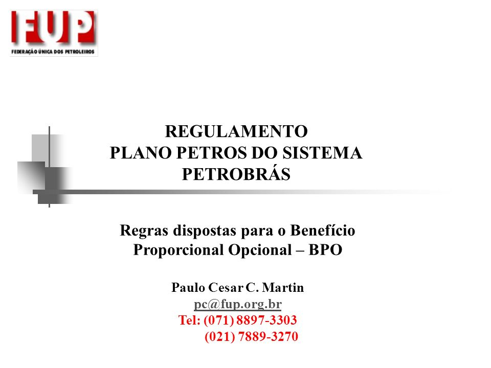 REGULAMENTO PLANO PETROS DO SISTEMA PETROBRÁS