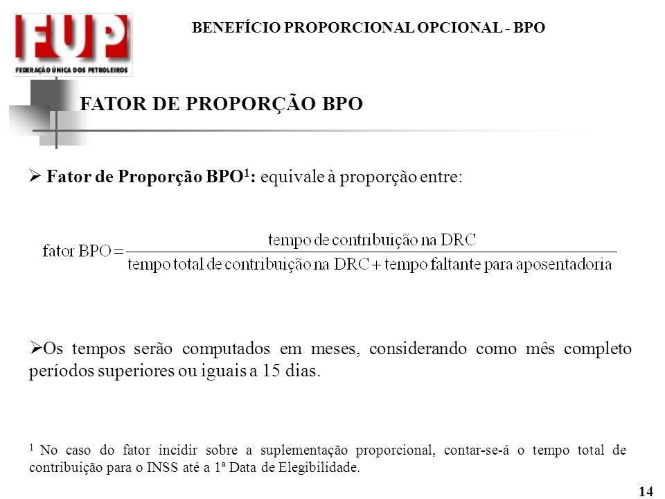FATOR DE PROPORÇÃO BPO Fator de Proporção BPO1: equivale à proporção entre: