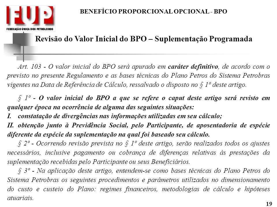 Revisão do Valor Inicial do BPO – Suplementação Programada