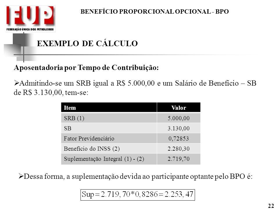 EXEMPLO DE CÁLCULO Aposentadoria por Tempo de Contribuição: