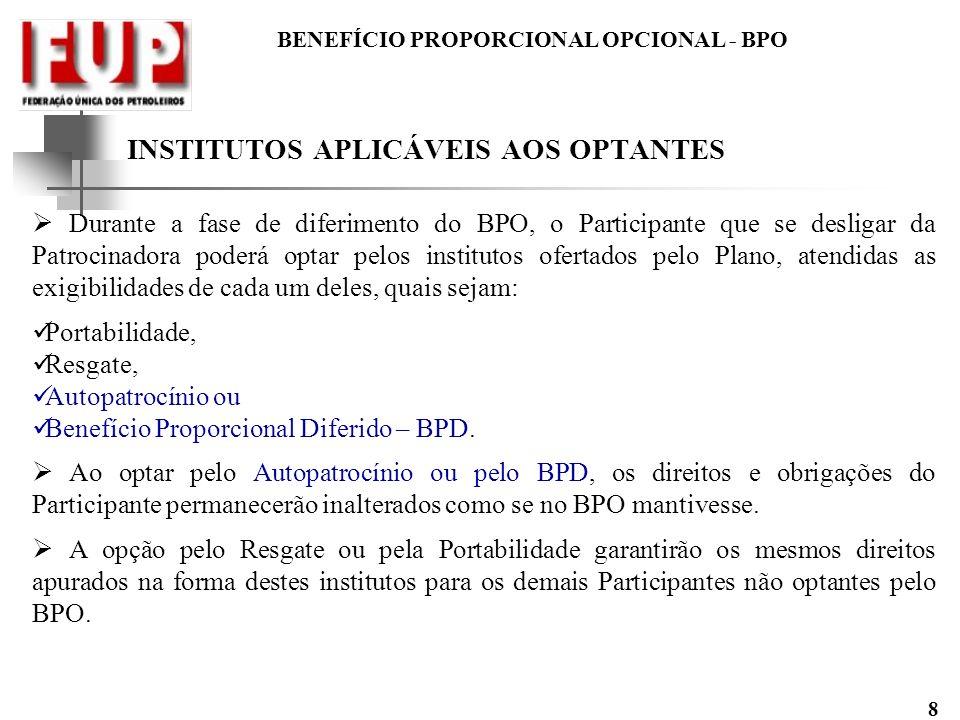 INSTITUTOS APLICÁVEIS AOS OPTANTES