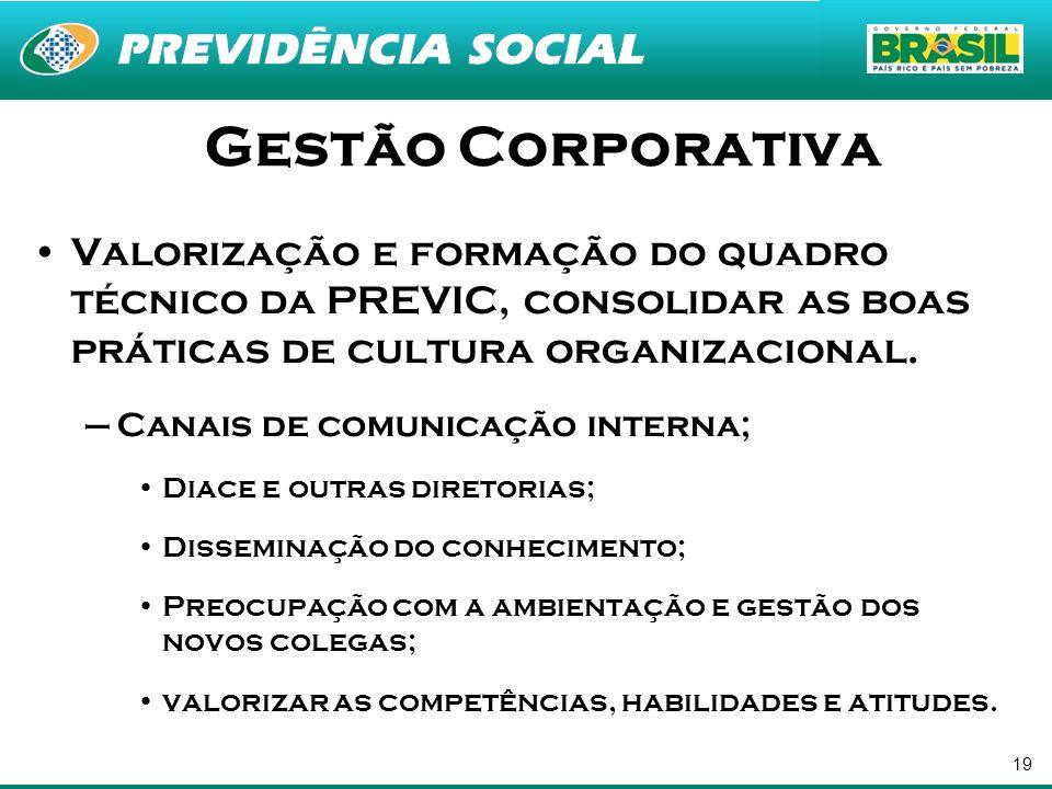 Gestão Corporativa Valorização e formação do quadro técnico da PREVIC, consolidar as boas práticas de cultura organizacional.