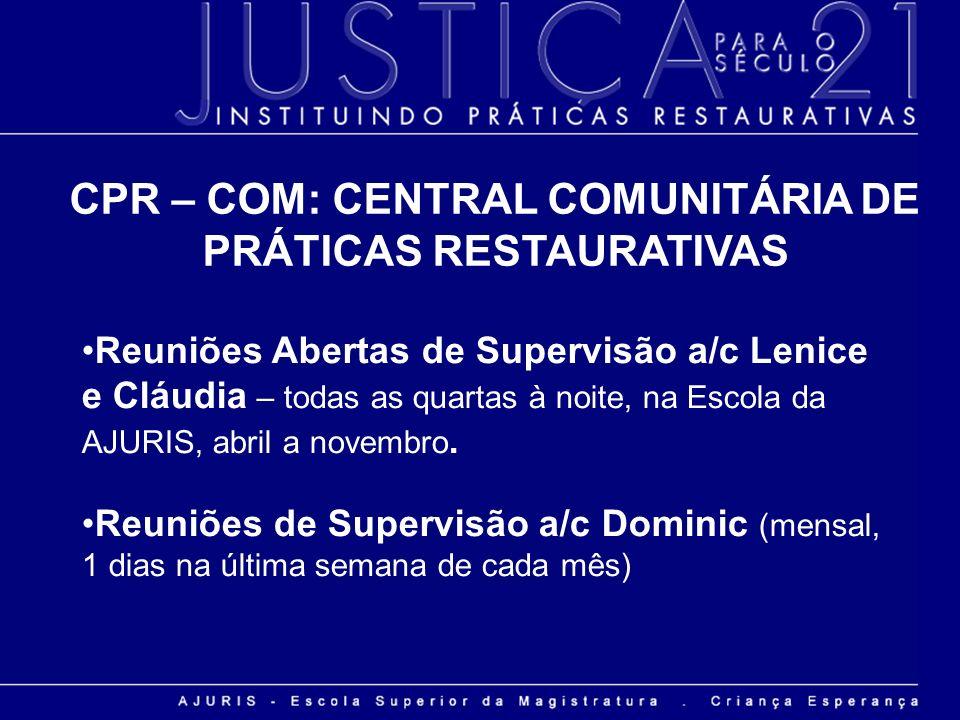 CPR – COM: CENTRAL COMUNITÁRIA DE PRÁTICAS RESTAURATIVAS